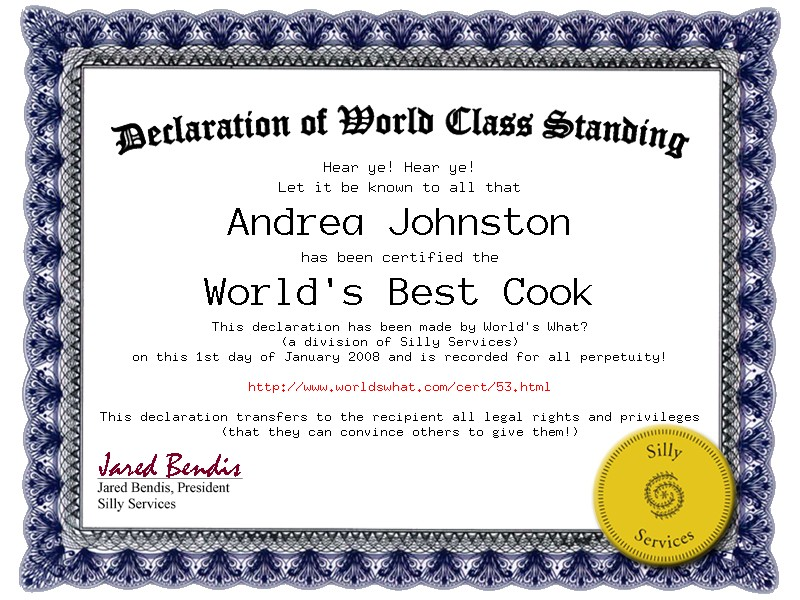 superlative certificate declaration of world class